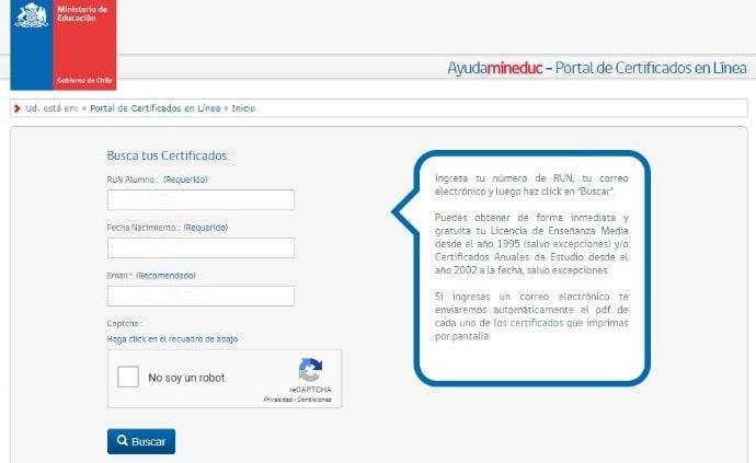Requisitos para solicitar el certificado de notas