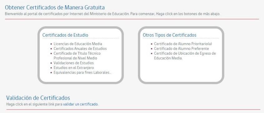 Certificado de notas enseñanza media en Mineduc