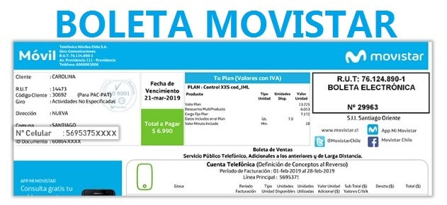 Boleta Movistar para verificar pagos