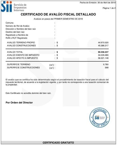 copia del certificado de avalúo fiscal