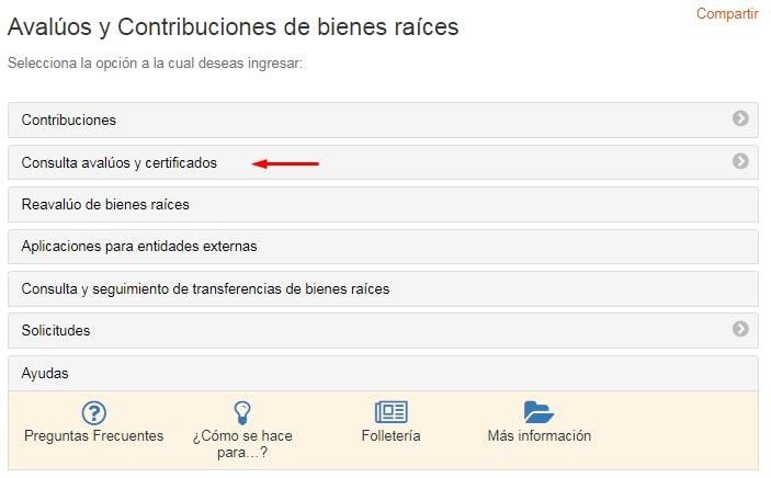 Consultar avalúos y certificados